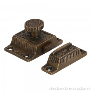 A29 Solid Brass Cabinet Latch with Flower Knob Weathered Bronze Finish - B00F730F2I
