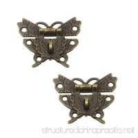 RZDEAL 2Pcs Box Buckle Beautiful Butterfly Shaped Hardware Zinc Alloy Furniture Accessory Decorative Wood Case Jewelry Box(DIY Antique Brass) - B073ZVZJGW