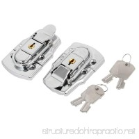 uxcell Toolbox Case 77x45x15mm Metal Box Toggle Latches Hasps Keyed Locks Silver Tone 2pcs - B06VWBN6GH