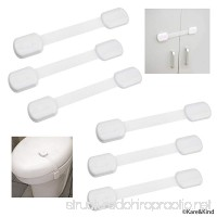 Child Safety Locks (White) - Set of 6 - Prevents Injury and Opening (Oven) Doors (Kitchen Sink) Cabinets Toilet Seats etc. - No Tools or Screws Needed - Strong Removable 3M Adhesive - Adjustable - B01M9CGHKN