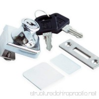 "Glass Display Cabinet Showcase Lock for ¼"" Glass Door No Drill with 2 Keys   Chrome Pleated - B019QU7R64"