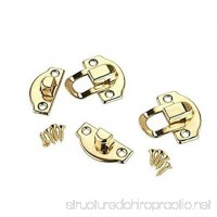 RZdeal 4Pcs Jewelry Box Latch Hasp Pad Chest Lock Hook Hinge Brass Tone - B01DM2SWW0