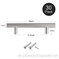 12MM Stainless Steel  Bar Handle Pull: Fine-Brushed Satin Nickel Finish | Kitchen Cabinet Hardware / Dresser Drawer Handles (6 inches  Pack of 30) - B01MR3DGA8
