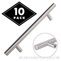 Cabinet Pulls Brushed Nickel - Long Stainless Steel Kitchen Pulls with Satin Finish T Bar Dresser Drawer Handles 10 pack 8 Overall Length 5 Hole Center for Better Grip - B073TJM3PG