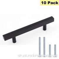 """Flat Black Kitchen Cabinet Pulls and Knobs 3"""" Hole Centers - Peaha PHJ22BK Dresser Drawer Pulls Black Metal Door Handles 5"""" Length 10 Pack - B076JD1BRL"""