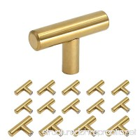 Homdiy Brushed Brass Cabinet Knobs 2in Modern Gold Kitchen Door Handles and Drawer Pulls Knobs 15 Pack - B06Y1X31B5