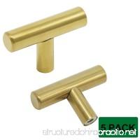 """Probrico Brushed Brass Modern Cabinet Hardware Kitchen Cabinet T Bar Knobs Dresser Pull Bathroom Gold Drawer Handles Furniture Hardware - 2"""" Length - 5 Pack - B01I9CNWVY"""
