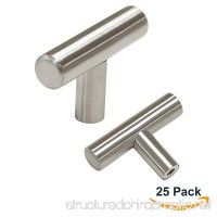 Probrico Euro Style T Bar Cabinet Pulls Stainless Steel Kitchen Handles Dresser Knobs Brushed Nickel 2 inch Total Length  25 Packs - B014891XTA