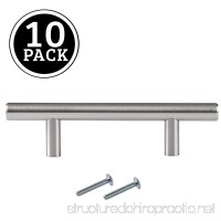 Satin Nickel Kitchen Cabinet Pulls - 3 inch Bar - 10 Pack of Kitchen Cabinet Hardware - B06Y19FMPC