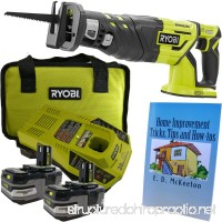 Ryobi P517 Brushless Reciprocating Saw Bundle 18-Volt ONE+ with (2 each) 3.0 Amp Lithium-Ion Batteries Charger Tool Bag and Home Improvement Book - B07D4L7975